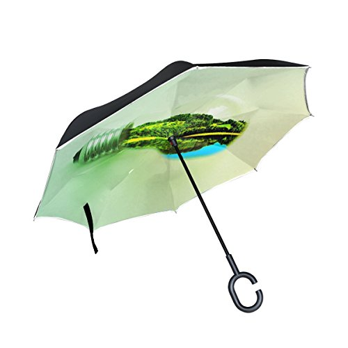 YUMOING Double Layer Inverted Bulb Trees Green Nature Lightbulb Umbrellas Reverse Folding Umbrella Windproof Uv Protection Big Straight Umbrella For Car Rain Outdoor With C-shaped Handle - Inverted Led Bulb