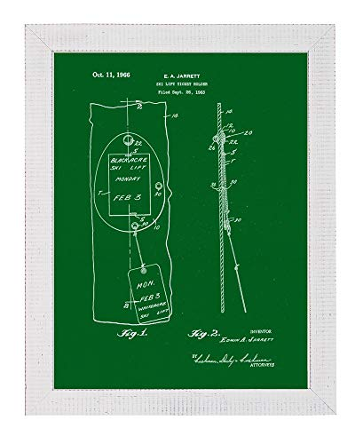 - Ski Lift Ticket Holder Patent Art Green Print in a Distressed White Wood Frame (18