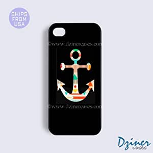 iPhone 4 4s Case - Black Colorful Anchor iPhone Cover by icecream design