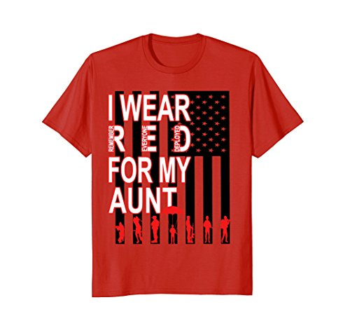 Aunt T-shirt Girls (Red Friday Military T-Shirt I Wear Red For My Aunt USA Flag)