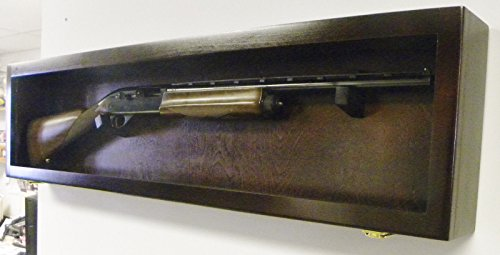 1-Single-Rifle-Gun-Cabinet-Display-Case-Wall-Rack-Replica-Airsoft-Civil-War-CherryMahogany-Case-with-NO-FELT
