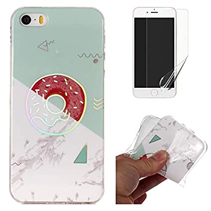 for iPhone 4/iPhone 4S Marble Case with Screen Protector, OYIME Creative Glossy Gray Marble Pattern Design Protective Bumper Soft Silicone Slim Thin Rubber Luxury Shockproof Cover