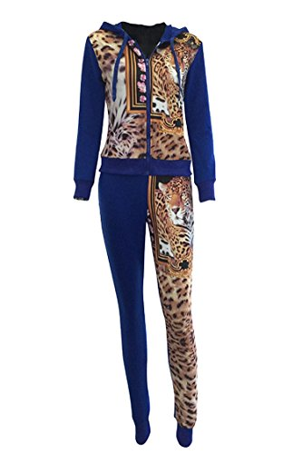 Linsery Women's Two Piece Animal Printed Sweatshirts Sweatpants Set Tracksuit, Navy Blue, L=US (Animals Womens Sweatpants)
