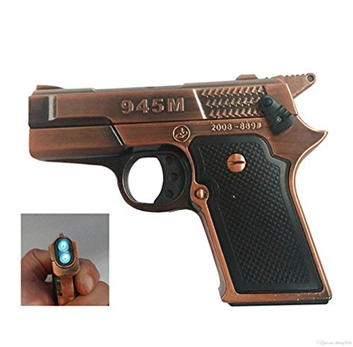 FengFang Windproof Lighter Pistol Model Inflatable Butane Metal Double Straight Punch Lighter ()