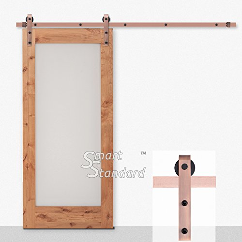 6.6ft Red Copper Sliding Barn Door Hardware Kit - Heavy Duty Super Smoothly and Quietly - Simple and Easy to Install - Includes Step-by-Step Installation Instruction - Single Rail -Fit 36