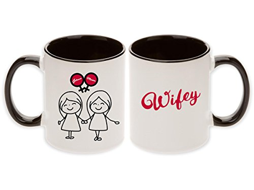 Lesbian Wedding Gift - Double Bride Cartoon Venus Symbols Wifey & Wifey Pair Mugs with Optional Personalized Names (2pcs) (Personalize Them!)
