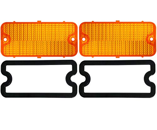 United Pacific (2) 1967-1968 Chevy Truck Parking Light Lenses with Gaskets, Amber Lens, Pair