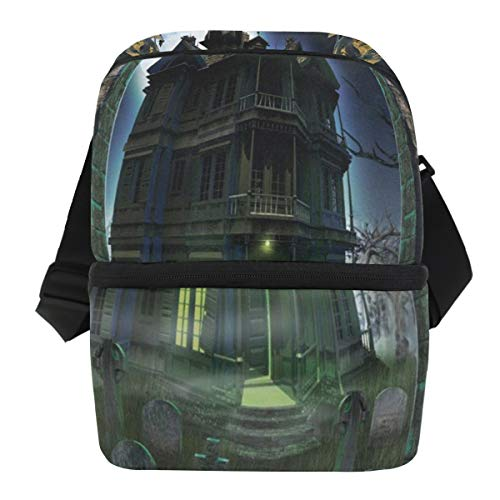 Lovexue Lunch Bag Majestic Castle of Halloween Insulated Cooler Bag Adult Leakproof Lunch Box Zipper Tote Bags for Outdoor