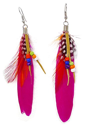 Bijoux De Ja Rhodium Plated Boho Beaded Natural Feather Drop Dangling Earrings (Shocking Pink) (Shocking Pink Anime)