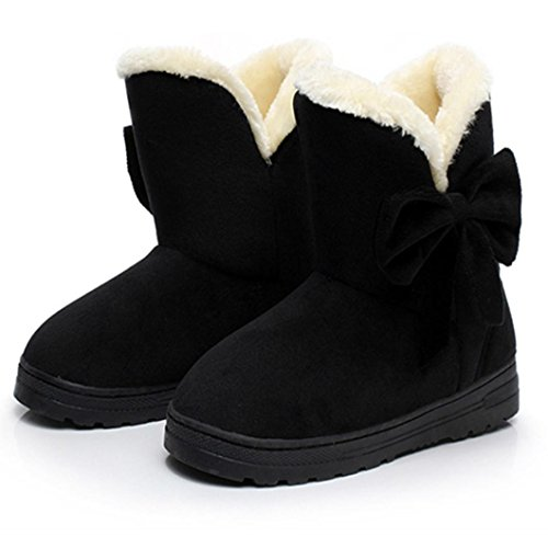 Womens Autumn Fashion Boot Shoes Winter Winter Black Chunky Flats Ladies Sole for Bowknot Clode® Warm Mid Snow Calf Boots 1pqnWda1