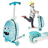 Kids 3 Wheels Fold-Able Monster Scooter Trolley Suitcase Travel Luggage with Fun Monster Design (Weight Limit: 50kg)