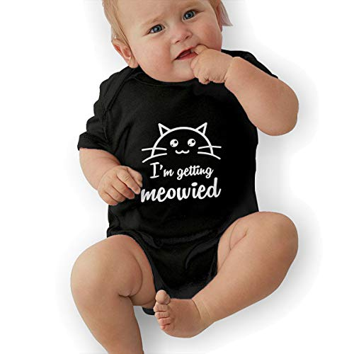 LOSPAPA I'm Getting Meowied Baby Short Sleeve Romper Onesies Clothes for 0-24m Newborn Baby Black