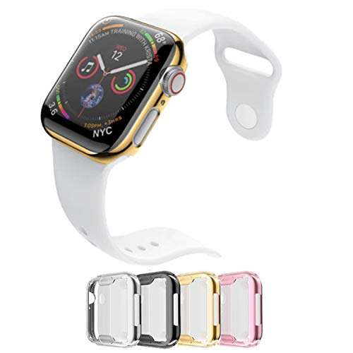 Case for Apple Watch 38m Series 3 Built-in Screen Protector All Around Protective Cover 4 Pack Bundle Black, Silver, Gold, Rose Gold HD Clear Ultra-Thin 38mm iWatch 4 TPU Cover by iV Industry (38mm)