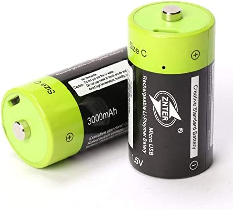 ZicHEXING-US ZNTER C Size 1.5V 3000mAh Rechargeable Lipo Battery Charged by Micro USB Cable 2pcs