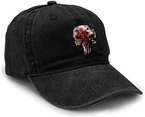 e4c7133ffd313 Yuliang Punisher Bloody Skull Netflix Season Funny Unisex Adult Adjustable  Snapback Cowboy Hat Black