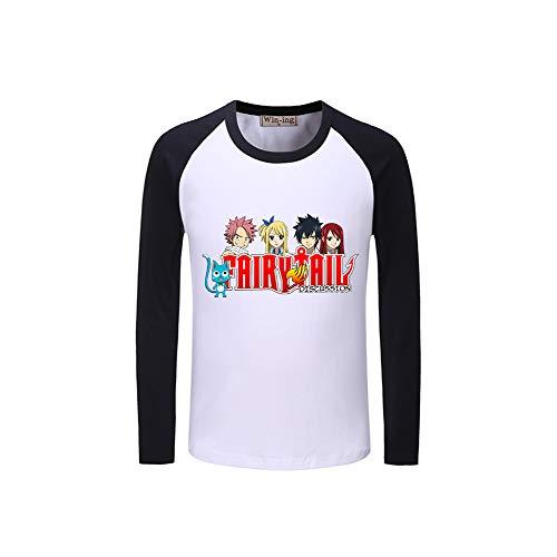 Manica Fairy Collo Uomo Cartoon Maglietta E Donne Patchwork Lettera Stampa T shirt Lunga Per Tail Unisex Rotondo Black07 UdHwtd