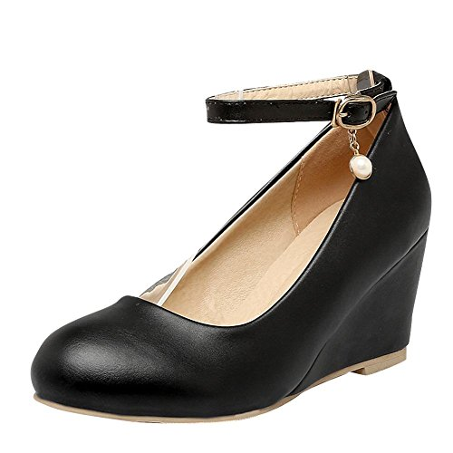 Mee Shoes Damen Keilabsatz ankle strap runde Pumps Schwarz