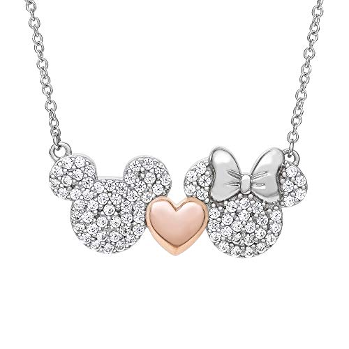 Disney Mickey and Minnie Mouse Sterling Silver Two Tone Cubic Zirconia Necklace with Pink Heart, Mickey's 90th Birthday Anniversary; Jewelry for Women and Girls -