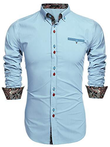 COOFANDY Men's Fashion Slim Fit Dress Shirt Casual Shirt Blue