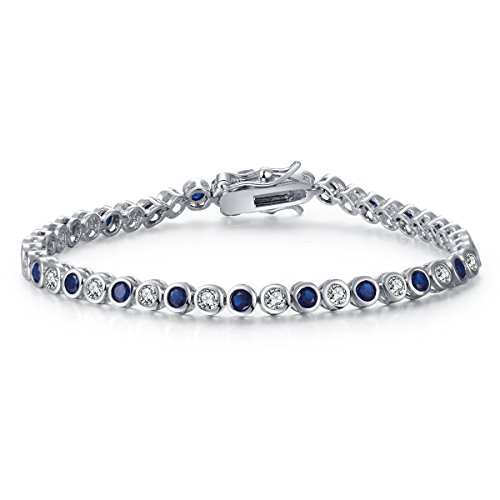 Caperci White Gold Plated Created Blue Sapphire and Cubic Zirconia Diamond Tennis Bracelet, 7.25