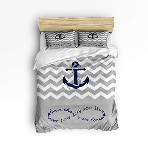 bric Bedding Set with Zipper Closure King Size, Infinite Love Anchor Rope Ripple Comforter Cover Set Duvet Cover with 2 Pillow Shams for Girls/Boys/Kids/Children/Teen/Adults ()