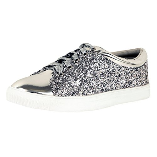 Image of Guilty Shoes - Womens Fashion Glitter Metallic Lace up Sparkle Slip On - Wedge Platform Sneaker Fashion Sneakers, Silverv1 Glitter, 5.5 B(M) US