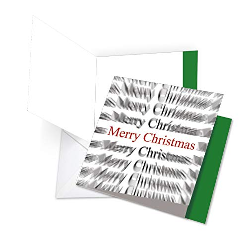 Holiday Words in Motion - Merry Christmas Greeting Card with Envelope (Large 8.25 x 9.75 Inch) - Mind Boggling Seasons Greetings Notecard - Beautiful Yuletide Stationery Gift JQ4951AXSB (Merry In Words Christmas)