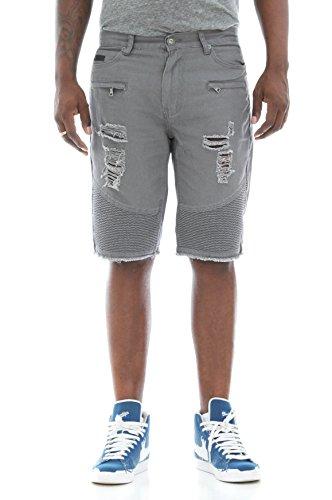 Fly Society Men's Ripped & Zipper Details Raw Hem Twill Biker Shorts-Charcoal-36