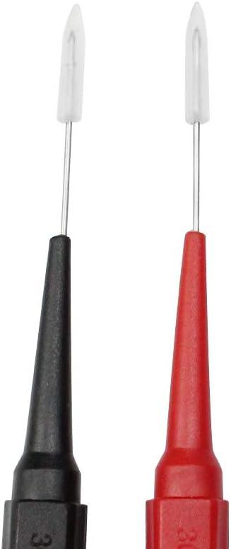 Baven 2 Paare Testsonde Abnehmbare Sonde Multimeter Messleitung Sonde Isolationspiercing Nadel Rostfreie Stahlnadel Abnehmbare kabel Sonde mit 4mm Buchse f/ür Multimeter und Oszilloskop