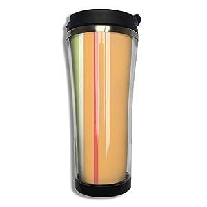 Peach Orange Yellow Beige Stripes Flip Top Lid Double Wall Stainless Steel Mug Hot Cold Tumbler Liquid Tight Travel Mug Vacuum Sealed Drink Bottle