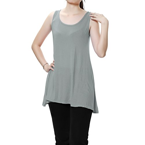 Women's Tunic Tops Henley Long Tank Basic Cami Dress for Sleep/Yoga/Sports - Henley Tank Dress