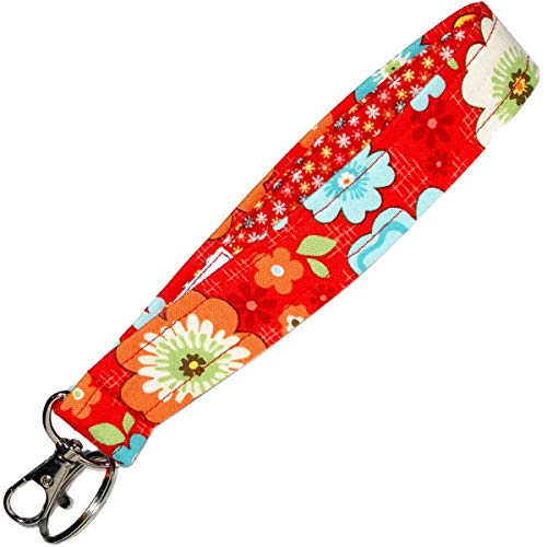 Red Floral Key Fob - 6 Inch Loop - Flower Key Chain - Keychain Strap - Purse or Wallet Strap