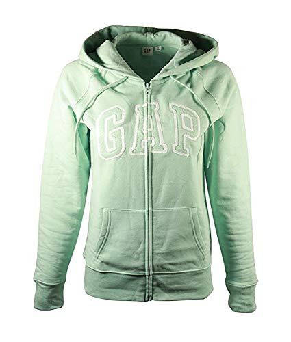 - GAP Womens Fleece Arch Logo Full Zip Hoodie (Light Mint, X-Small)