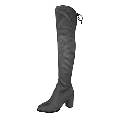 240a5b6ca Amazon.com   Womens Gray Micro Suede Thigh High Boots Block Thick Heel  Stretch Over The Knee Boots   Knee-High