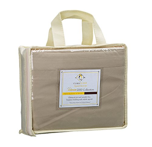 Clara Clark 4 Piece 1800 Series Premier Sheet Set, Queen, Cream (Premiere Mattress Set Product)