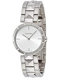 Edge Womens Stainless Steel Watch with Metal Band - Ladies 30mm Analog Silver Face - Luxury