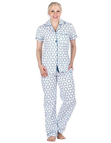 Womens Cotton Poplin Short Sleeve Pajama Set - Humming Wheels White/Blue - - Poplin Pajama Cotton