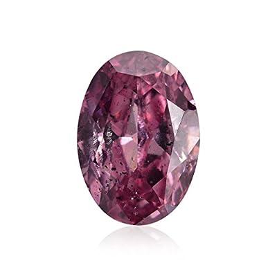 0.49 Carat Fancy Vivid Purplish Pink Loose Diamond Natural Color Oval Shape GIA
