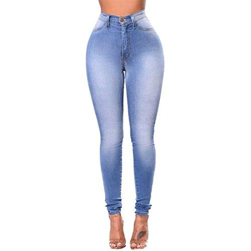 Luckywe Medio Pantalones elasticidad Azul tamaño Mujer alta Vaqueros Elástico Gran pies Flacos lavando Leggings los rOrxq687w