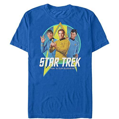 (Star Trek Men's Risk is Our Business Trio Royal Blue T-Shirt)