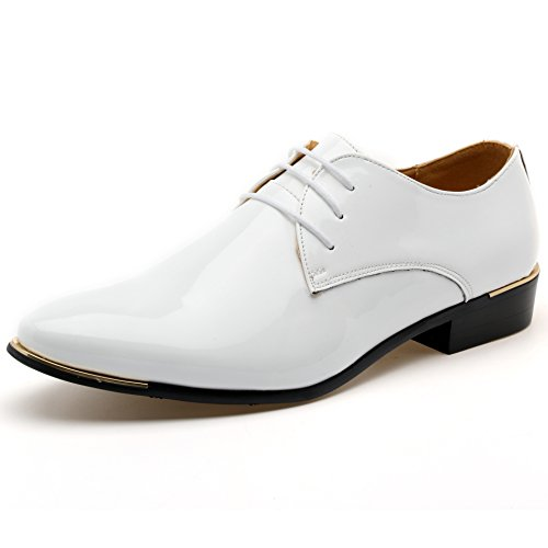 Z-joyee Mens Patent Leather Tuxedo Dress Shoes Lace up Pointed Toe Oxfords Formal Wedding Shoes, White, US - White Tuxedo Shoe