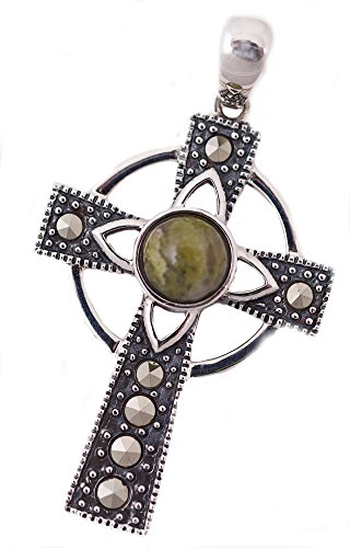 Marble Connemara Cross ([S44727] Celtic Cross Sterling Silver with Irish Connemara Green Marble Pendant)