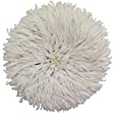 Old World Shoppe Large White Juju Hat - Wall Decor Feather Headdress - 31' Diameter