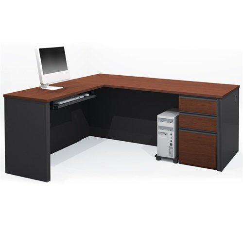 (Prestige Premium L-shaped Corner Computer Desk in Bordeaux & Slate)