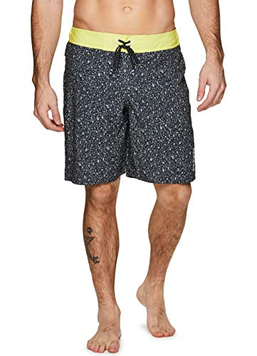 RBX Active Men's Quick Dry Swim Trunk Boardshorts with Zipper Pocket Multi Yellow M