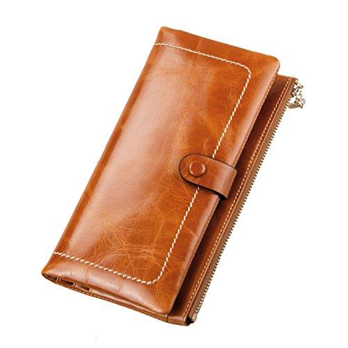 AINIMOER Luxury Large Womens Genuine Leather Long Zipper Wallet Ladies Clutch Purse