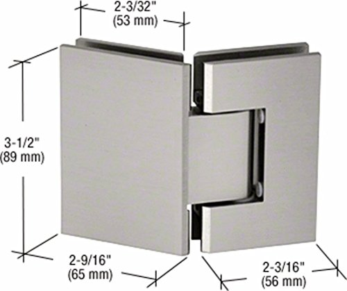 Satin Chrome 135 Glass - CRL Geneva 545 Series Brushed Satin Chrome 135° Glass-to-Glass Hinges