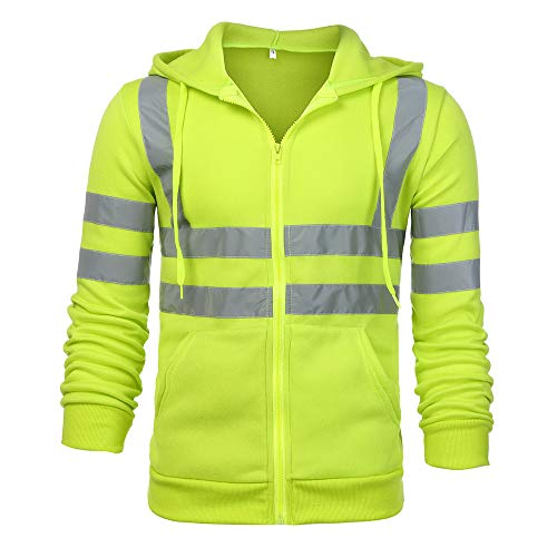 (Sunhusing Men's Solid Color Reflective Hooded Long Sleeve Sweatshirt Road Work High Visibility Pullover Top)