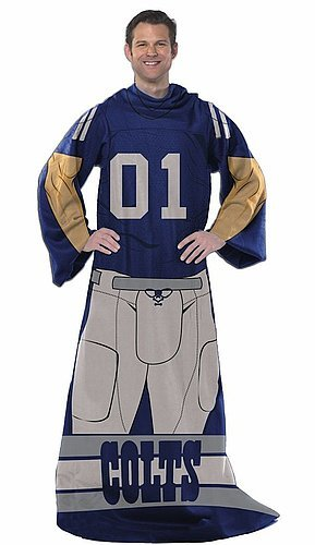 Nfl Comfy Feet - Indianapolis Colts Comfy Throw Blanket With Sleeves - Player Design - Licensed NFL Football Merchandise