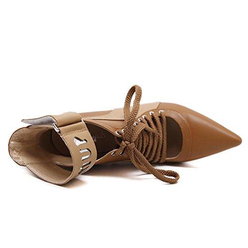 L@YC Zapatos De Mujer PU Winter Botas CóModas Punta De Los Dedos Del Pie Ocio Brown Negro Bien Con La Plataforma Black